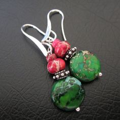 Real leaves pressed under glass 18 round Silver Plated Handmade Silver Earrings, Drop Earrings, Shop Sale, Magenta, Jasper, Trending Outfits, Unique Jewelry, Handmade Gifts, Green