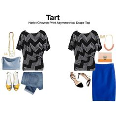 Like the bright blue. Looks like a nice way to wear a pencil skirt casually, and I like that the top is basically a t shirt with a twist.