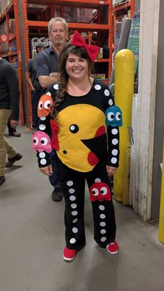 My DIY Ms. Pacman costume inspired by a similar costume I saw on Pinterest  sc 1 st  Pinterest & Pac Man Family costumes homemade | All Hallows Eve! | Pinterest ...