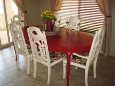 Kitchen table redo - mix match table and chairs
