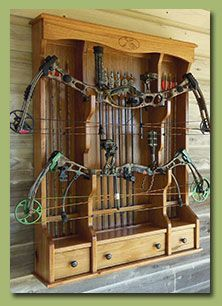 This double bow rack is a great way to display your favorite bows. I think I need this!! #BowHunting