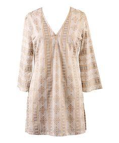 H m beige long dress cover up