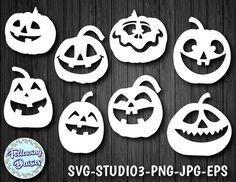 CALABAZAS en SVG Calabazas con caras sonrientes Halloween   Etsy Graphic Design Programs, Floral Skull, Floral Border, Black And White Colour, Funny Faces, Halloween Pumpkins, Cute Designs, Paper Cutting, Cricut Design