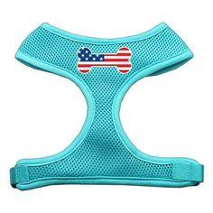 Bone Flag USA Screen Print Soft Mesh Harness Aqua Large