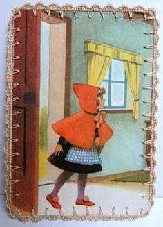 Omhaakte  kaart : Roodkapje bij het raam van -CarlaK- op DaWanda.com