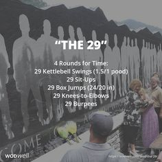 "The 29"" memorial WOD is a tribute to 29 coal miners who died in what is known as the 'Upper Big Branch Mine disaster' eight years ago tomorrow, April 5, 2010. The accident was the most deadly of its kind in the United States since 1970. Roughly 1,000 feet (300 m) underground at Massey Energy's Upper Big Branch coal mine, 29 out of 31 miners at the site were killed in a coal dust explosion. The workout was created by CrossFit Coal (Mabscott, WV, USA)."