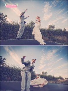 ©rachel lambert photography crazy bride and groom on trampoline rosedew farm farmers barn llantwit major cardiff south wales wedding