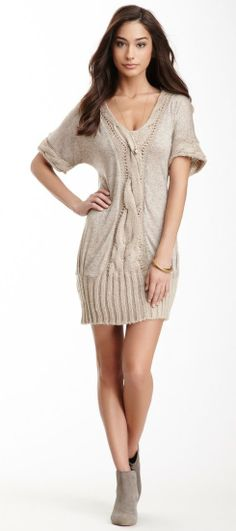 6690c6efd6 Cable Knit Trim Short Sleeve Tunic Dress Knit Dress