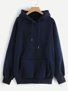 ROMWE Raglan Sleeve Kangaroo Pocket Drawstring Hoodie Women Casual Autumn Navy Hooded Full Sleeve Ladies Spring Plain Sweatshirt - navy-blue,s Hoodie Sweatshirts, Printed Sweatshirts, Hoody, Hoodie Jacket, Casual Outfits, Cute Outfits, Tomboy Outfits, Style Casual, Emo Outfits