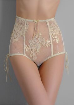 sheer with lace and ribbon bridal lingerie high-waisted panty