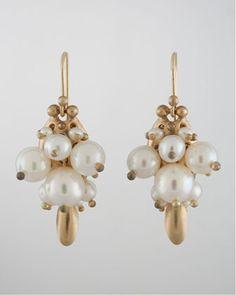 Ted Muehling White Pearl Bug Earrings - Bergdorf Goodman