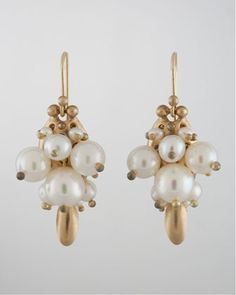 White Pearl Bug Earrings by Ted Muehling at Bergdorf Goodman.