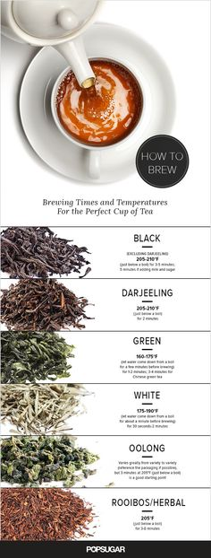Brewing Times and Temperatures For the Perfect Cup of Tea Wie lange wird der Tee eingeweicht? Herbal Tea Benefits, Herbal Teas, Health Benefits, Perfect Cup Of Tea, Popsugar Food, Brewing Tea, Best Tea, Bubble Tea, Tea Recipes