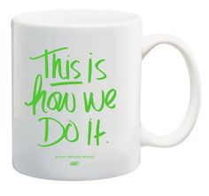 Meetings, carpool, late night study sessions: all things we deem worthy of a pick me up only this mug can bring. 11 ounces white ceramic coffee mug grassy gree Ashley Brooke Designs, Fancy Houses, Pick Me Up, White Ceramics, Hand Lettering, Tea Party, Coffee Mugs, Gadgets, Gadget