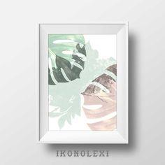 Monstera leaf, art print, collage, tropical plants, wildflowers, pastel, rose art, poster, minimalist art, monstera wall art, home decor by Ikonolexi on Etsy