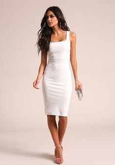 White Square Neck Bodycon Dress - Going Out - Dresses Trendy Dresses a03aa46f660c