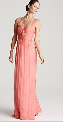 REVEL: Coral Bridesmaid Dress I like the top of this but needs to be short