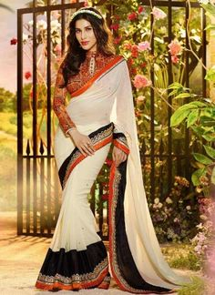 Epitome White Georgette Embroidery Patch Border Work Saree…