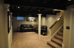 unfinished basement ceiling ideas - Google Search Basement Ceiling Insulation, Unfinished Basement Ceiling, Basement Ceiling Options, Basement Ideas, Ceiling Ideas, Basement Ceilings, Unfinished Basements, Modern Basement, Basement Bars