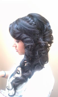 side, updo, long hair, braid, curls, tight curls, upstyle,
