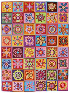 Thaneeya McArdle New Work: February 2007 Inspiration Artistique, Mini Canvas Art, Funky Art, Art Lessons Elementary, Tile Art, Heart Art, Art Plastique, Art Auction, Flower Art
