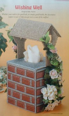 WISHING WELL Tissue Box Cover  FORGETMeNot Tissue Topper by M2Hawk, $2.50