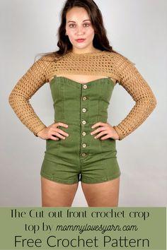 Cut out crop top - free pattern crochet summer wear - Mommy loves yarn Crop Top Pattern, Shrug Pattern, Free Pattern, Crochet Designs, Crochet Patterns, Crochet Ideas, Crochet Stitches, Knitting Patterns, Crochet Summer