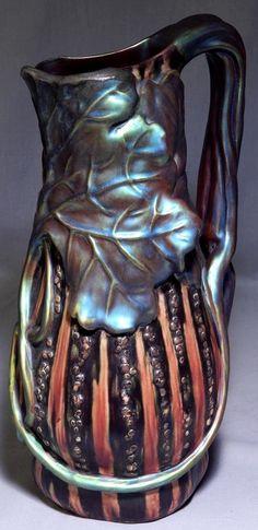 """Zsolnay Art Nouveau ceramic pitcher. Measures 13 1/4"""" x 6 1/2"""". 15/e3,25eU"""