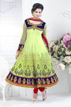 Presenting Green Net #Anarkali #Suit with Embroidered,Stone Work and Resham Work  Shop Now@ http://zohraa.com/green-net-suit-kasatchina5003.html  Rs. 4,699.