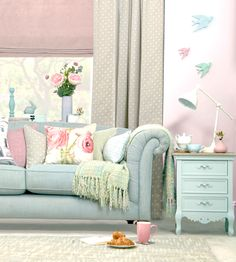 Welcome to Dunelm, the UK's leading home furnishing retailers. Shop for bedding, curtains, furniture, beds and mattresses today at Dunelm. Cottage Style Living Room, My Living Room, Living Room Decor, Living Spaces, Pastel Living Room, Pastel Bedroom, Interior Exterior, Interior Design, Cosy Room