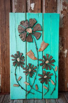 SOLD Driftwood Art and an Owl... | The Moore Family Folk Art  Cool, natural, southern-fried driftwood folk art flowers by Folk Artist Alan Moore SOLD