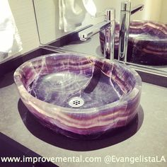 amethyst sink, vessel sink, tall faucet, ceasarstone countertop, powder room, grasscloth wallpaper, Hancock Park, modern