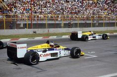 Nigel Mansell & Nelson Piquet  at starting grids(Mexico 1986)