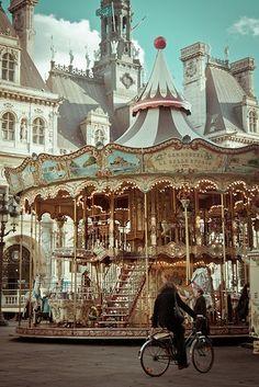 Place de l'Hôtel de Ville - Paris - there are a couple of carousels located throughout Paris - three that come to mind are at Hotel de Ville, the Eiffel Tower and Sacre Cœur. Paris France, Oh Paris, I Love Paris, Places Around The World, The Places Youll Go, Places To See, Around The Worlds, Beautiful World, Beautiful Places