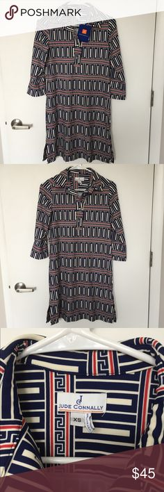 Jude Connally Shirtdress (XS) $178 retail MSRP - this is LIKE NEW with the original tag, and I've worn this twice! Unfortunately does not fit my new workplace environment. 3/4 length sleeves in the jersey fabric that never wrinkles and is ideal for travel, message me with any questions! Jude Connally Dresses Long Sleeve