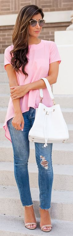 Pink Hi-lo Blouse Ripped Jeans by The Darling Detail