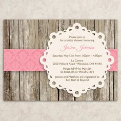 Rustic Bridal Shower Invitation - Vintage Bridal Shower Invite - Baby Shower Invitation - Rustic Tea Party Invitation - DIY Printable JPEG. $20.00, via Etsy.