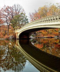 Central Park Foliage & Bow Bridge Reflections