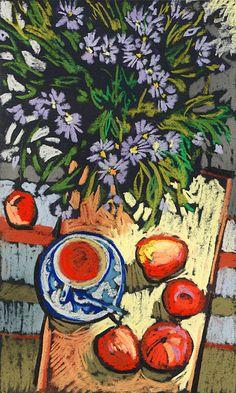 Kira Sokolovskaya - still life with a bouquet, pastel