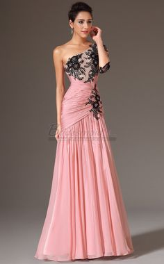 #bridesmaiddresses Pearl Pink Chiffon Long One Shoulder Mermaid Bridesmaid Dress with Half Sleeve JT-CA1367