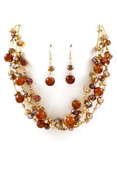 Chestnut Kelly Agate Necklace Set on Emma Stine Limited