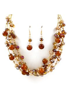 Chestnut Kelly Agate Necklace Set