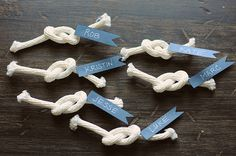 "DIY  Knot Accents - ""Would make for cute seat assignments at a nautical wedding."""