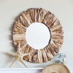 Driftwood Round Oversized Wall Mirror