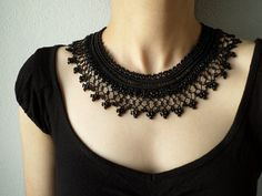 Black beaded crochet necklace - Collar necklace with black beaded lace by irregularexpressions by irregular expressions Crochet Necklace Pattern, Crochet Bib, Crochet Collar, Freeform Crochet, Lace Necklace, Collar Necklace, Beaded Lace, Beaded Jewelry, Jewellery