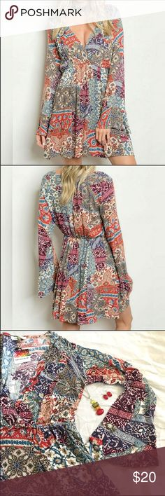 """LAST ONE! Boho Paisley Dress ⚜️This highly sought after colorful boho dress has long bell sleeves and smocked waist. Great for a Fall and Winter with leggings and boots or booties! 100% Rayon. Large measurements: Bust - 19.5"""", Length - 32.5"""" Dresses Mini"""