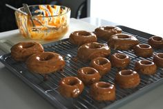 baked caramel apple donuts