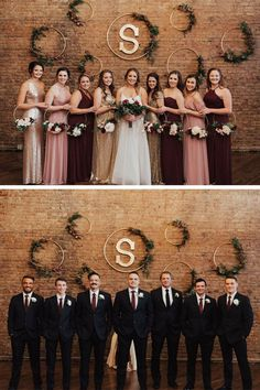 Formal portraits of the bride withher bridesmaids and the groom with his groomsmen. A Kansas City wedding at Flander Hall, Missouri wedding venue. Wedding photography by Meredith Graves. bridesmaids and groomsmen Gold And Burgundy Wedding, Maroon Wedding, Wedding Groom, Wedding Bridesmaids, Fall Wedding, Dream Wedding, Bridesmaids And Groomsmen, Maroon Bridesmaid Dresses, Gold Bridesmaid Dresses