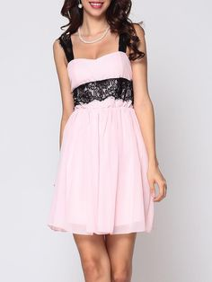 #Fashionmia - #Fashionmia Hollow Out Lace Patchwork Lovely Sweet Heart Skater-dress - AdoreWe.com