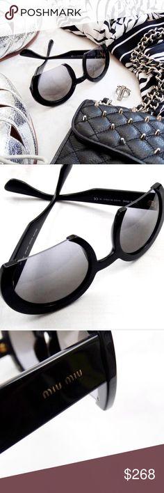 Miu Miu Black Modern Round Semi Rimless Sunglasses Details: * Black frames * Oversized round, semi rimless shape * Comes with box, case, pouch, cleaning cloth * NWT 05221702 Miu Miu Accessories Sunglasses